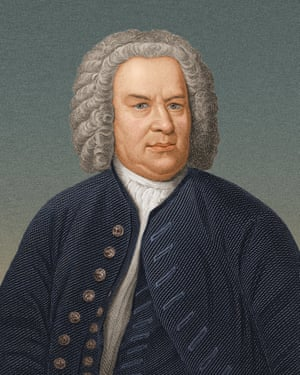 An illustration of German composer J S Bach aged around 40 wearing a grey wig. and