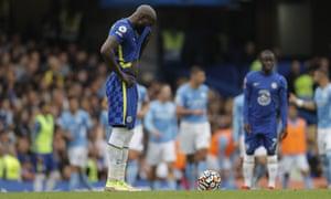 Chelsea's Romalu Lukaku looks dejected after Manchester City take the lead.