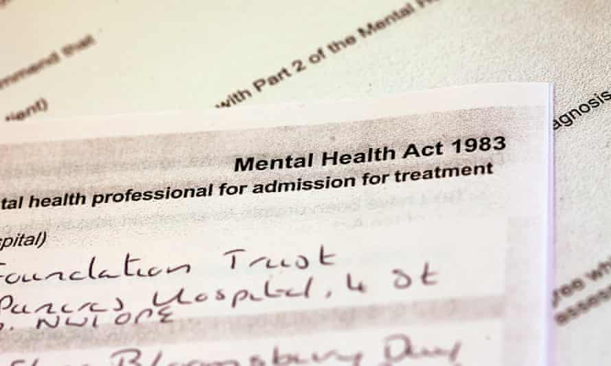 Application form for sectioning a patient under the Mental Health Act.