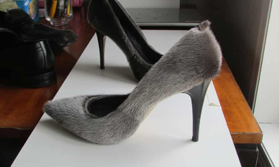 Footwear by designer Nicole Camphaug, who adds sealskin to high heels and dress shoes.