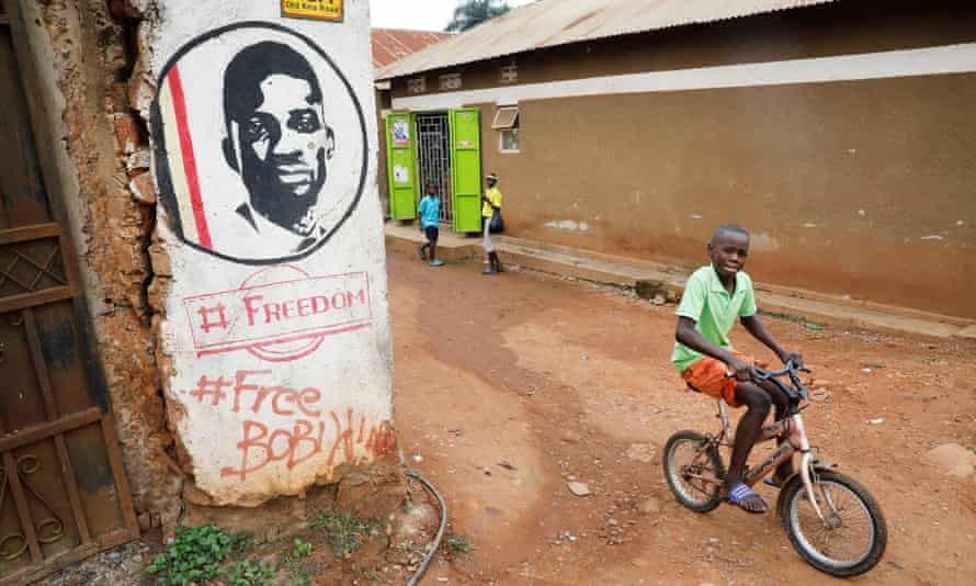 Graffiti calls for the release of Bobi Wine, whose real name is Robert Kyagulanyi, on a street in Kampala.