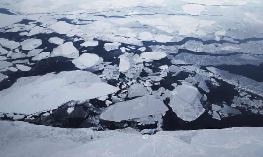 An aerial photograph of melting ice