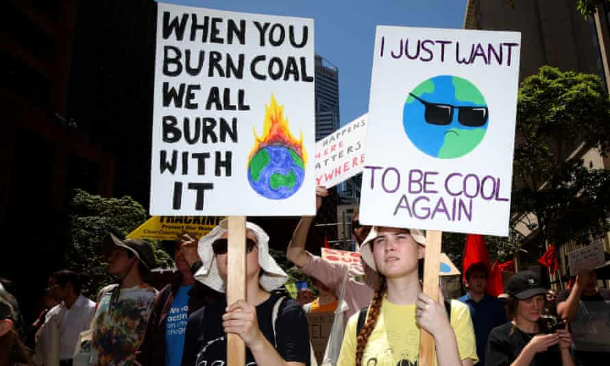 Activists from School Strike 4 Climate and Extinction Rebellion march towards the Parliament of Western Australia, November 2019.