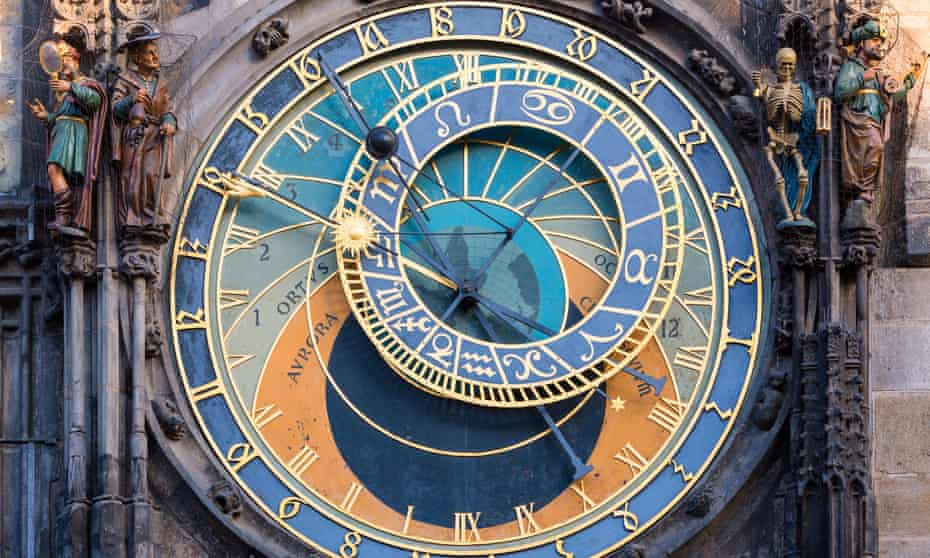 An astronomical clock in Prague, Czech Republic.