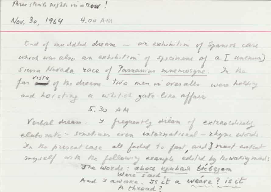 One of Nabokov's dream transcriptions