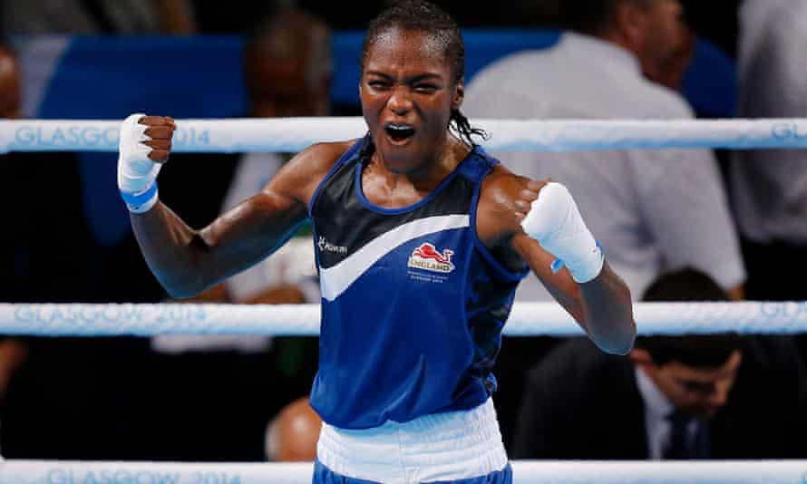 Nicola Adams of England celebrates after her victory over Michaela Walsh of Northern Ireland in the 2014 Commonwealth Games.