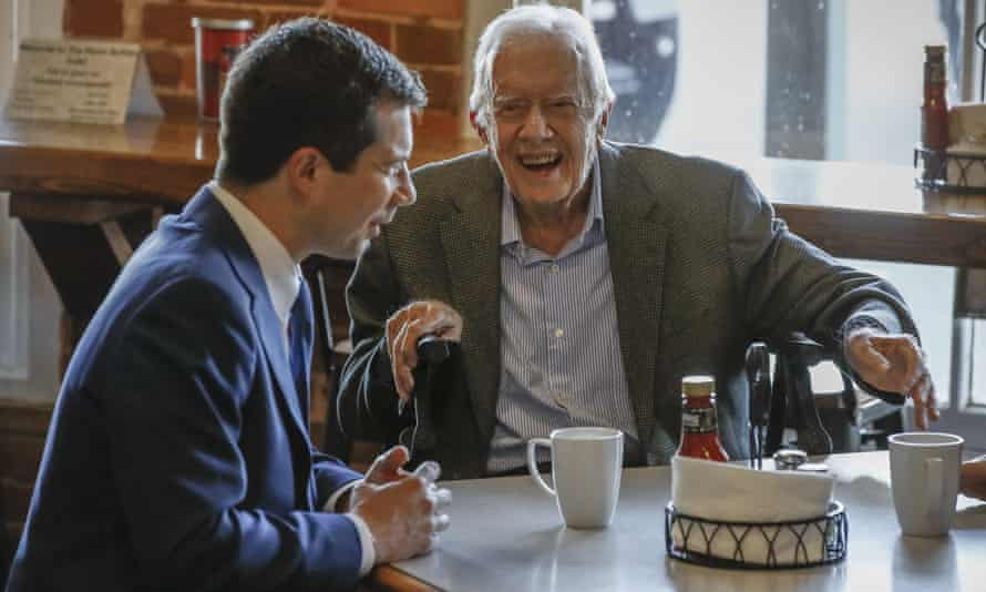 Jimmy Carter has a coffee with Pete Buttigieg, March 2020.