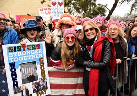 Gloria Steinem attends the rally at the women's march on Washington on 21 January 2017