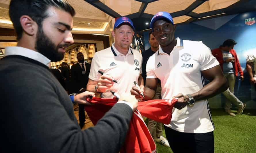 Dwight Yorke and former Manchester United team-mate Peter Schmeichel at a recent event in Dubai