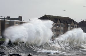 Windy weather on the Ayrshire coast at Saltcoats