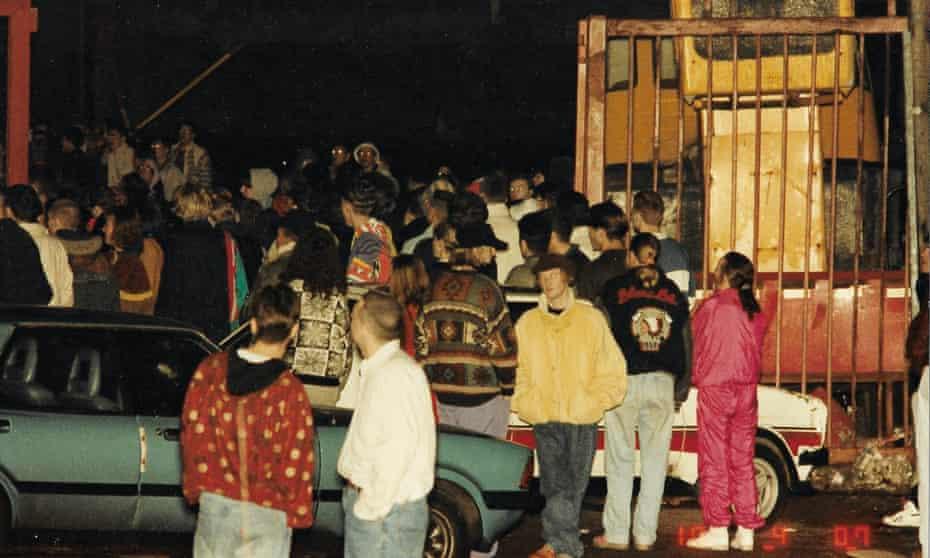 Revellers at one of Blackburn's raves in 1989