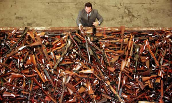 Prohibited firearms that were handed in under the Australian government's buy-back scheme after the Port Arthur massacre