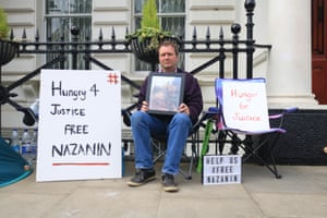 Richard Radcliffe protests outside the Iranian embassy in London