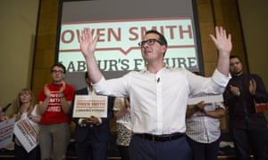 Owen Smith speaks at the first rally of his campaign for the Labour leadership at Friends' Meeting House, Manchester last week.