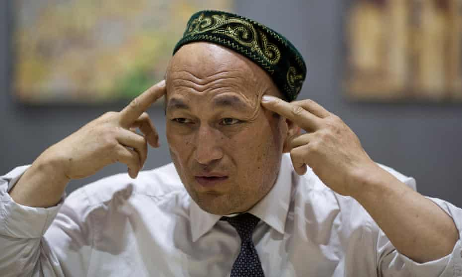 Omir Bekali talks about the psychological stress he endured in a Chinese internment camp during an interview in Almaty, Kazakhstan, on 29 March.