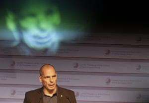 Greek finance minister Yanis Varoufakis speaking in Riga today.