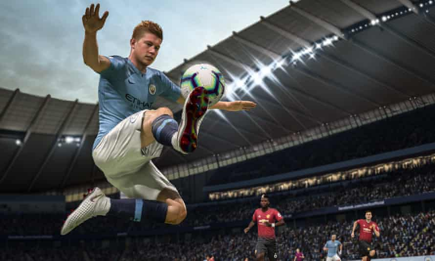 Manchester City's Kevin De Bruyne leaps to control the ball using Fifa 19's re-worked controls