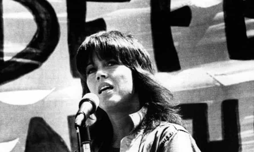 Jane Fonda speaking at an anti-war rally in San Francisco in 1972.