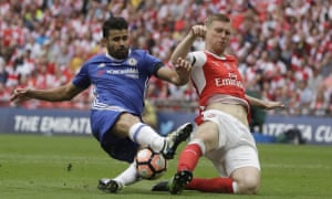 Chelsea's Diego Costa, left, is thwarted by Arsenal's Per Mertesacker.