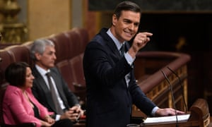 Pedro Sánchez speaking during an investiture debate in Spain
