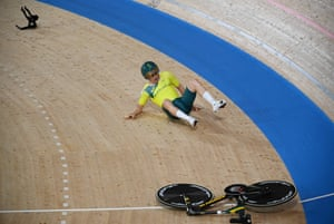 Australia's Alexander Porter crashes during the men's track cycling team pursuit qualifying event as his handlebars randomly snap off.