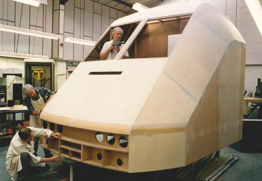 A full-size plywood mock-up of the nose of David Carter's design for the Eurotunnel Le Shuttle constructed at DCA's workshops in Warwick