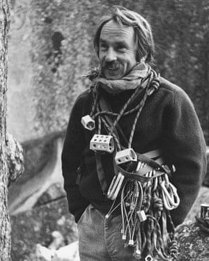 Chouinard with rock climbing equipment.