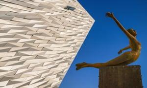 Titanica sculpture at the Titanic Belfast Visitor Experience.