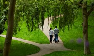 People walking in Winckley Square gardens in Preston
