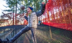 boy bouncing at Zip World Fforest, Conwy