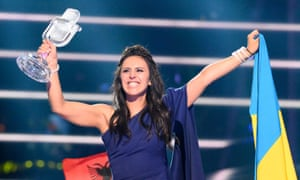 Jamala with the 2016 Eurovision song contest trophy she won for Ukraine at the weekend