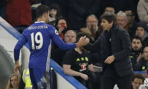 Diego Costa, left, shakes hands with the Chelsea manager, Antonio Conte, after being substituted late in the win over Hull City.