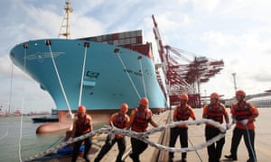 Container vessel Mary Maersk arrives at the port of Qingdao in eastern China's Shandong province.