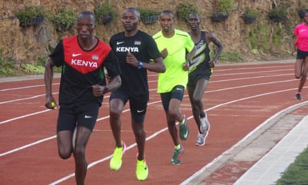 At the track near Rongai, Kenya: Tim Cheruiyot, Anthony Kiptoo, George Manangoi and, just in shot, Dominique (Cheruiyot's cousin).