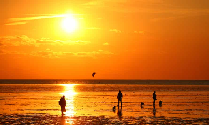 The beach at Heacham, Norfolk, during the hottest September Europe has ever experienced.