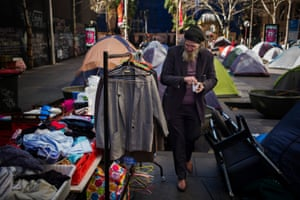 Donated clothing and other items are available to the homeless