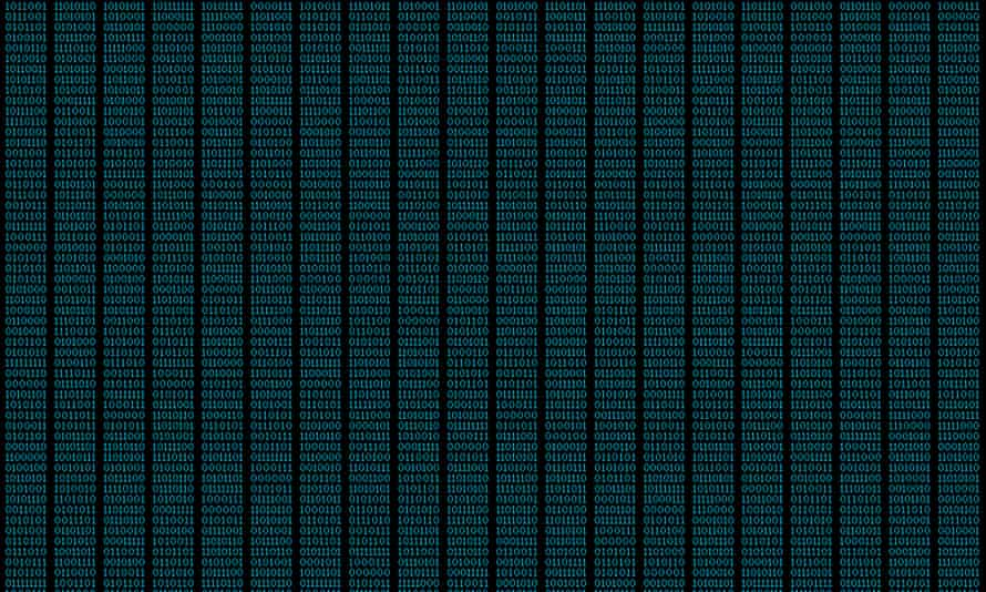 Binary code, ones and zeros in a 1970 dot matrix font on a computer screen.