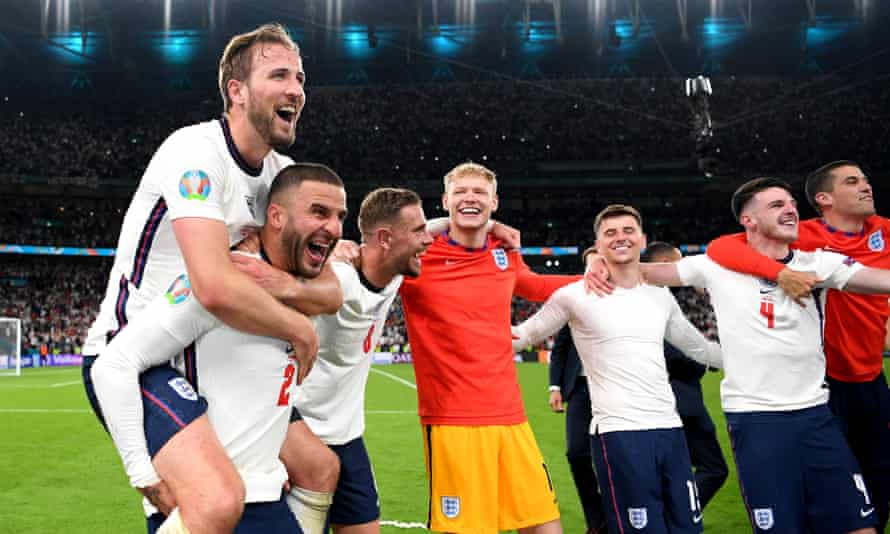 Harry Kane of England celebrates with team mate Kyle Walker after victory in the UEFA Euro 2020 Championship semi-final match between England and Denmark.