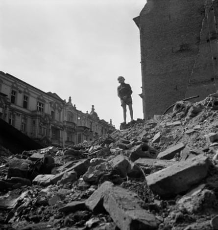 Boy Standing on a Mountain of Rubble, Berlin, 1947.