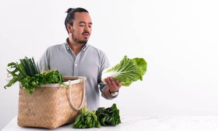 Adam Liaw with fresh produce.