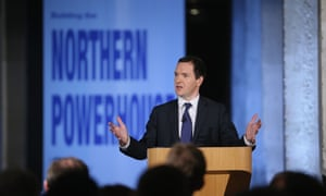 Osborne in front of 'northern powerhouse' sign