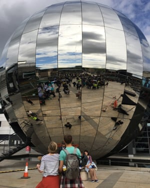 The planetarium in Millennium Square, Bristol - crowds gather for the speeches marking the start of the Bristol March for Science