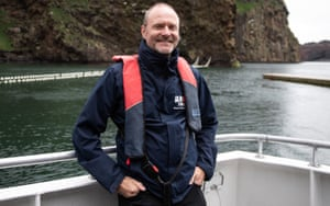 Andy Bool, head of Sea Life Trust, in Klettsvik Bay, Iceland, where the whales have been re-homed.