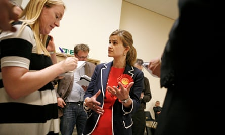 Jo Cox during the general election count in 2015.