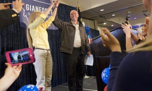 Greg Gianforte celebrates with supporters after being declared the winner in Montana's special House election Thursday in Bozeman, Montana.