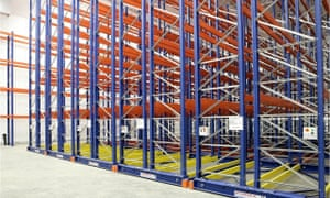 Empty racks in a temperature-controlled warehouse