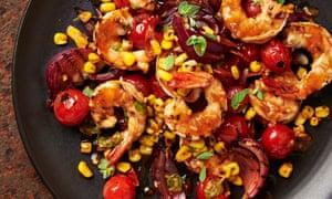 Charred prawn, sweetcorn and tomato salad.