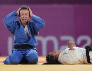 Lima, PeruChile's Mary Dee Vargas reacts after her bout with Brazil's Larissa Faria at the pan American games.