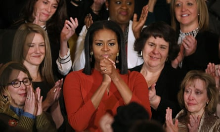 Moving rhetoric … Michelle Obama speaks publicly in the White House for the last time as first lady.