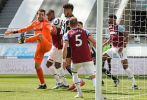 West Ham United's Lukasz Fabianski before Joelinton poked the ball home for Newcastle's second goal of the game.Joelinton pokes the ball home for Newcastle's second goal of the game.